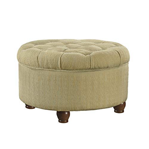 (HomePop Large Button Tufted Round Storage Ottoman, Tan and Cream Tweed)