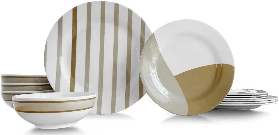 Amazon Com Bowla 12 Piece Melamine Dinnerware Set Service For 4 Moden Strip I Dinnerware Sets