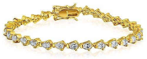 Bling Jewelry Bridal Wedding Prom Teardrop Pear Shape Tennis Bracelet for Women for Girlfriend Cubic Zirconia CZ 14k Gold Plated Brass (Tennis Pear Bracelet)