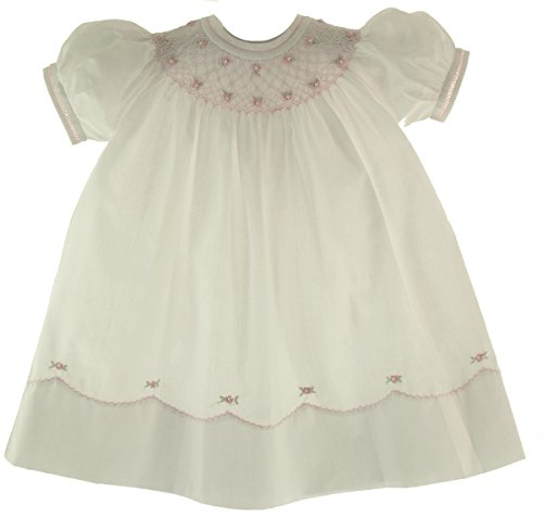 Feltman Brother Girl White & Pink Smocked Bishop Dress with Pearls