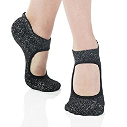 Great Soles Women\'s Isabella Non Skid Grip Socks for Barre Pilates Yoga (Black Glitter)