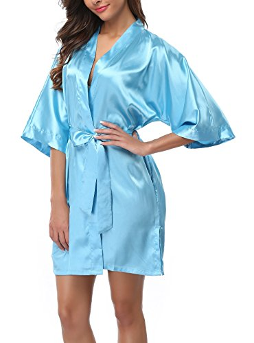 FADSHOW Women's Solid Color Kimono Robes Bathrobes Short Wedding Robes for Bridal Party,Acid Blue,X-Large