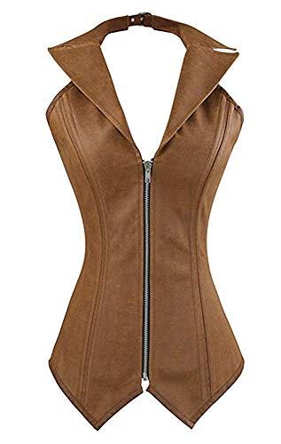 Women's PU Leather Steampunk Halter Spiral Steel Boned Vest Corset Top Plus Size (Brown,3X-Large)
