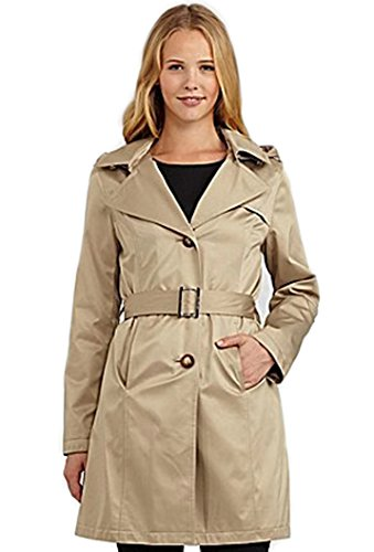 Michael Kors Women's Winter Coat Jacket M72356M Missy Hooded Trench Camel, Size Small (Michael Kors Trench Coat)