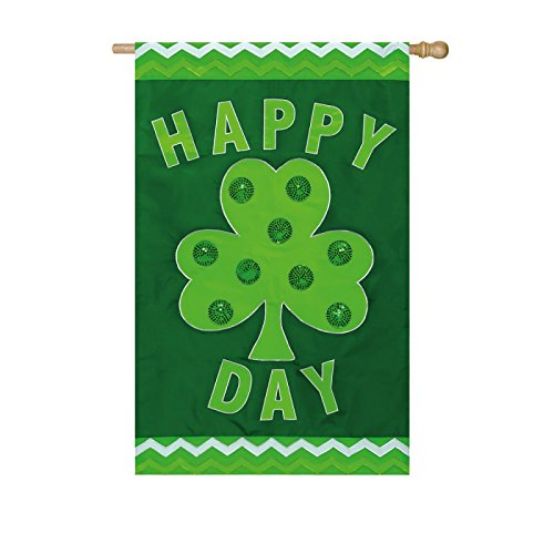 Green Happy Shamrock Day Applique House Flag Review