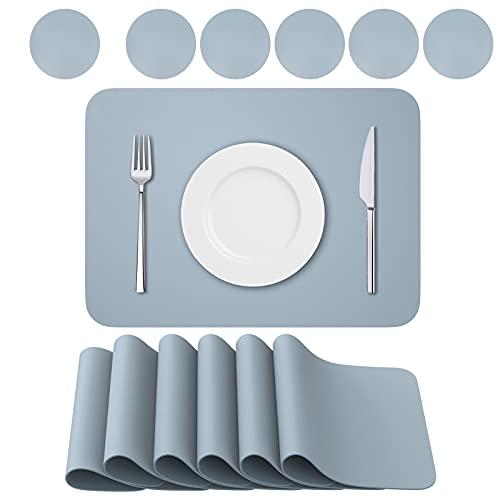 BANNIO 6er Set Tischsets Abwaschbar,Abwischbar Lederoptik Platzset und Untersetzer,Wasserdicht PVC Platzdeckchen Tischset für Hause Küche Restaurant und Hotel,41x31cm,grau