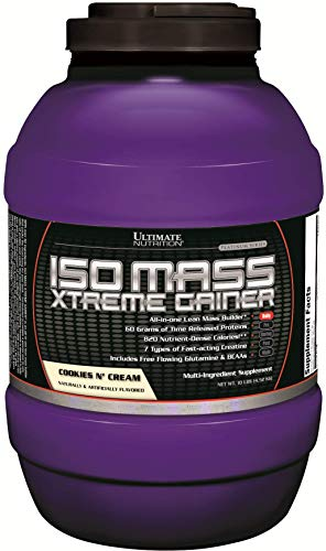 Ultimate Nutrition ISO Mass Xtreme Weight Gainer Protein Isolate Powder with Creatine - Gain Serious Lean Muscle Mass Fast with 60 Grams of Protein, Cookies N Cream, 30 Servings