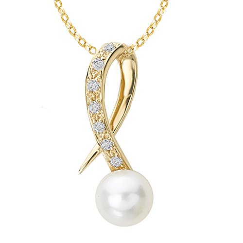 14k Yellow Gold, Cultured Freshwater Pearl & Diamond Pendant (7-7.5mm Pearls, 0.11ctw)