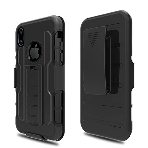 iPhone X / iPhone 10 Case Defense Shield Series [Heavy Duty] Premium Belt Clip Holster Kickstand Shockproof - Case For iPhoneX Hard Plasic+Silicone Cover & Polycarbonate Protective Case for Apple Griffin Iphone Holster