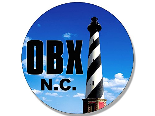 American Vinyl Round OBX Lighthouse Sticker (North Carolina nc Beach Logo Outer Banks)