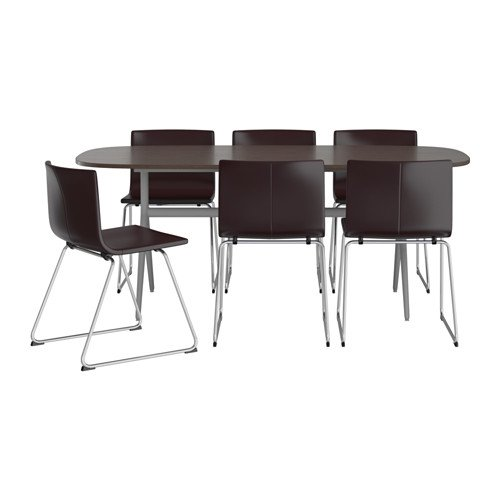 Ikea Table and 6 chairs, dark brown/gray, Kavat dark brown 8202.26262.3810
