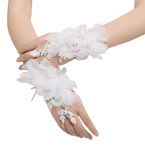 (Floral Lace Short Wrist Gloves Applique Wedding Gloves Beaded Fingerless Bridal Gloves Party Costume White)