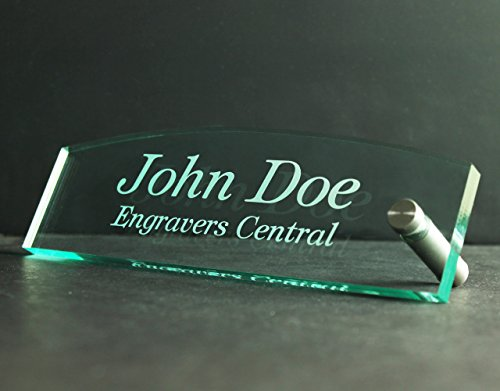 Engraved Clear Glass (Personalized Office Desk / Table Top Name Plate 3/8