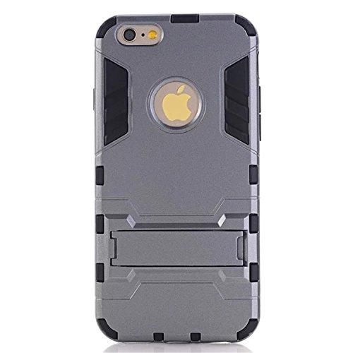 iPhone 6 Plus Case, LIYINGKEJI Anti-rayures Drop Protection Ultra mince Slim Fit Double épaisseur Armure lourde Hybride Hard PC + Soft TPU Housse de protection pour Apple iPhone 6 Plus - Gris