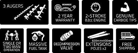 Professionelle Erdlochbohrer Post Pole Borer 82 Cc 3 Bohrer 100 200 300 Ultrasharp Bits Mit Extensions Und Sprungfeder Baumarkt