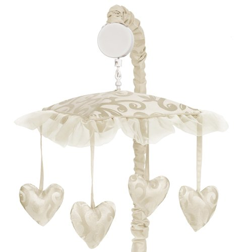 Sweet Jojo Designs Champagne and Ivory Victoria Musical Baby Crib Mobile
