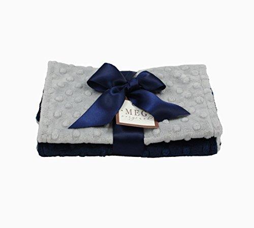 MEG Original Navy Blue & Gray Baby Boy Minky Dot Burp Cloths, set of two
