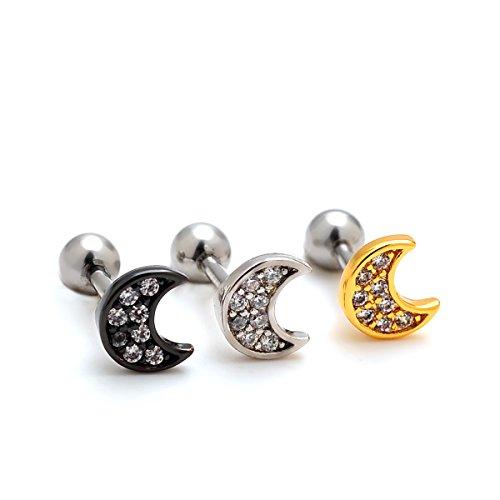 2 Pieces 16g Rhinestone Moon Upper Ear Cartilage Helix Studs Earrings Lobe Piercings 16 Gauges 1/4 Bar