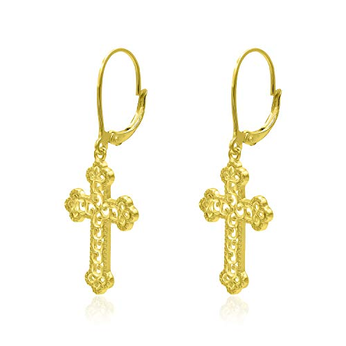 - Yellow Gold Flashed Sterling Silver Diamond-Cut Filigree Cross Leverback Dangle Earrings
