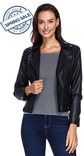 Jorlyen Moto Jacket Women - Faux Leather Jacket Moto Biker Short Coat for Petite Women Black ()