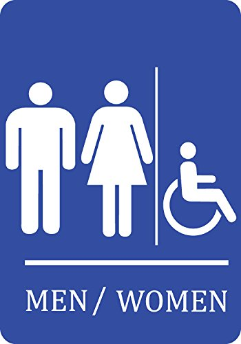 Family Handicap Accessible Bathroom Blue Sign - Large Business Restroom Signs - -