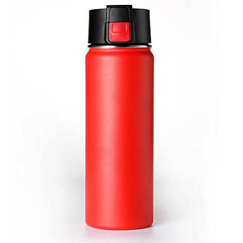 Double wall Vacuum Insulated Stainless Steel Wide Mouth Sports Water Bottle, Leak Proof Coffee Travel Mug with Flip Lid - 600ml,20oz -Red