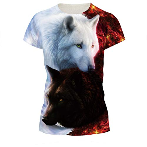 NEWCOSPLAY Shirts Colorful 3D Printed Short Sleeve T-Shirt Fashion Couple Tees (XXXL, Brown White Wolf)