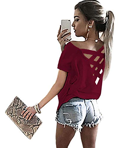 Yingkis Women's Summer Cut Out Loose Shirts Criss Cross Backless Top Tee Blouse,Wine Red XL