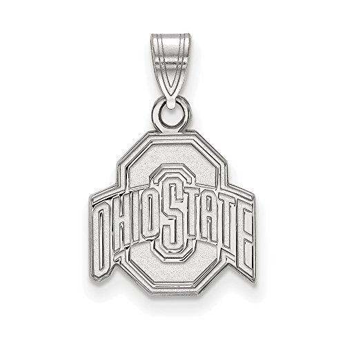 Ohio State Small (1/2 Inch) Pendant (14k White Gold) by LogoArt