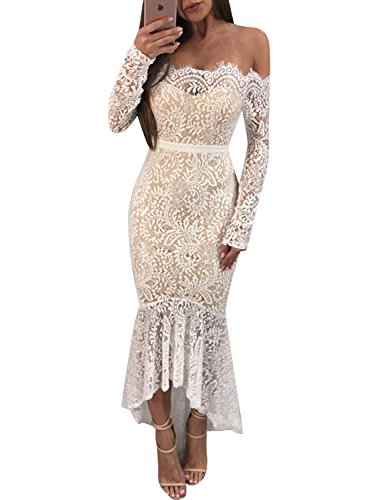 Glamaker Women's Off Shoulder Floral Lace Sleeve Bodycon Mermaid Long Dress (Mermaid Lace)