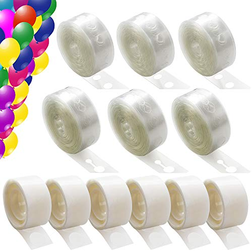 6 Rolls Balloon Arch Kit 96 Feet and 6 Rolls (600 Piece) Balloon Tape Adhesive Dots, Balloon Garland Kit Decorating Strip for Party -