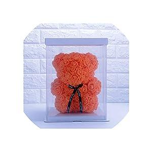 Artificial Flowers 20/40Cm Wedding Party Rose Bear with Light Girlfriend Anniversary Birthday Kids Present,20Cm Orange with Box 33
