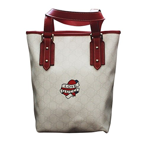 Gucci Tattoo (Gucci Heart Tattoo White Canvas Small Bucket Tote Bag 240018)