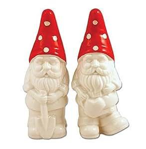 Retro Style Garden Gnome Salt & Pepper Shaker Set Ceramic Collectibles