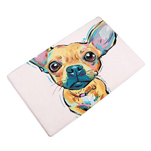Sothread 40x60cm Soft Non-slip Rectangle Dog Printed Carpet Mats Bath Area Rug Doormats (H)