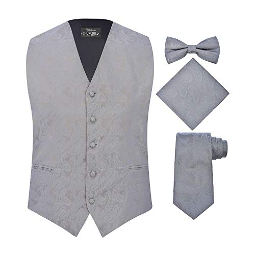 S.H. Churchill & Co. Men's 4 Piece Paisley Vest Set, with Bow Tie, Neck Tie & Pocket Hanky - XL, Silver