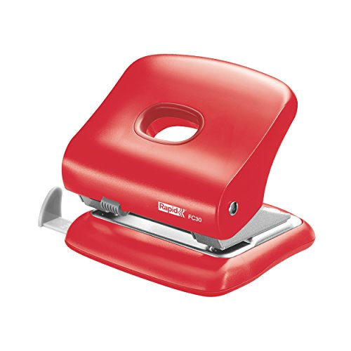 (Rapid Hole Punch, 30 Sheets, Light Red, Guide Bar with Format Markings, Metal and Plastic, FC30, 5000360)