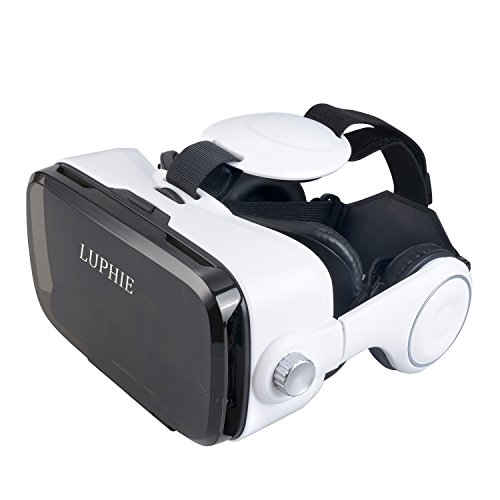 LUPHIE 3D VR Headset, Virtual Reality Glasses Build-in Stereo Headphone and Adjustable Strap for iPhone & Android Smartphone within 4.7-6.2 inches - 3rd Generation VR Box