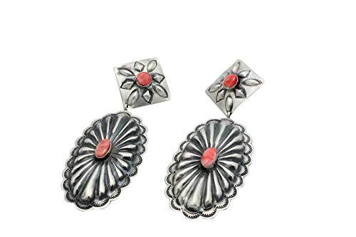 Rita Lee, Earrings, Dangles, Oval Concho, Spiny Oyster Shell, Navajo Handmade, 4 ()