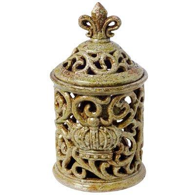 A&B Home 66970-GREE Antique Moss Saville Short Decorative Jar with Fleur-de-lis Finial, 6.5 x (Moss Green Fleur De Lis)