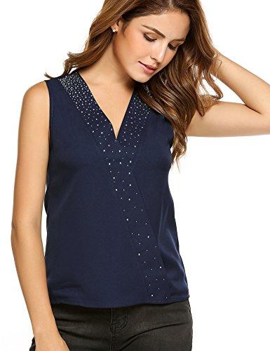 2416132afb3c Meaneor Damen Oberteil Tops Bluse Hemd V-Ausschnitt mit Pailletten Chiffon  Ärmellos T-Shirt