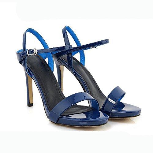 Vernice Fibbia Dimensioni Tacco Estate Colore Blu Spillo e da Sandali 37 Scarpe Alto Uniti Donna a Moda Europa Tacco Stati tIgxOBq