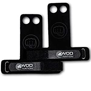 WOD Nation Leather Barbell Gymnastics Grips Perfect for Pull-up Training, Kettlebells, Gymnastic Rings, Black 2 Finger, X-Small