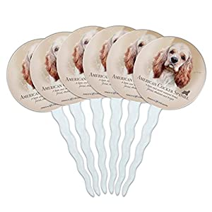GRAPHICS & MORE American Cocker Spaniel Dog Breed Cupcake Picks Toppers Decoration Set of 6 6