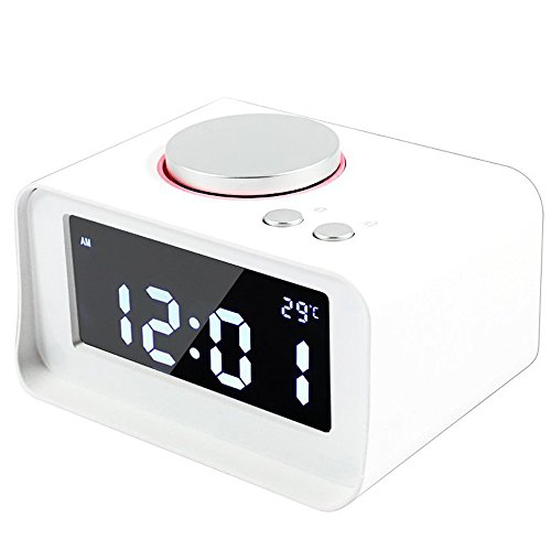 Dulcii Smart Alarm Clock,Built with FM Radio,AUX-IN,Dual Alarm,Indoor Thermometer,Charging Station/Phone Charger with Dual Port USB for Phones and Tablets,White