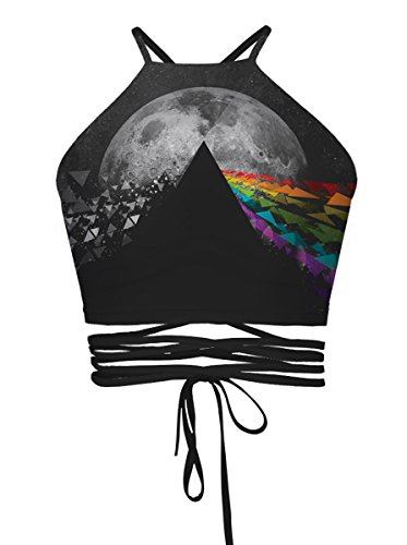 Top Deals (DaDa Deal Women's Teens Girls Juniors Halter Sexy Vest Crop Top Shirt (One Size, Black Moon 2))