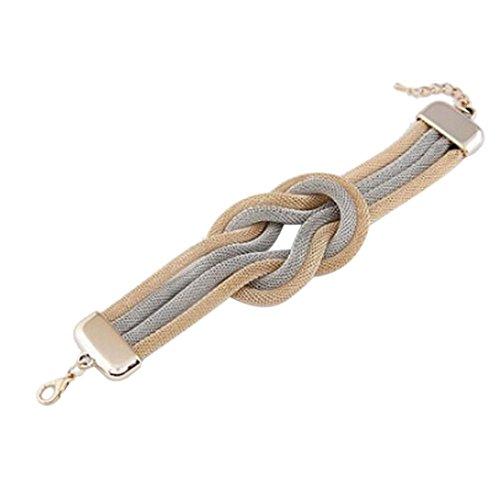 Gyoume Women Woven Bracelet Hand Chain Bracelet Jewelry Electroplating Alloy Multi-Layer Twist Bracelet Gift (01, (Sterling Shiny Twist Bead)