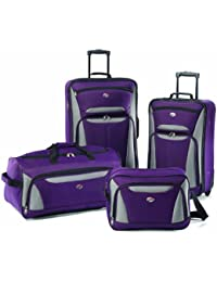 Fieldbrook II Softside Upright Luggage Set, Purple/Grey, 4-Piece (tote/DF/21/25)