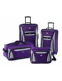 American Tourister Fieldbrook II 4 Piece Set, Purple/Grey