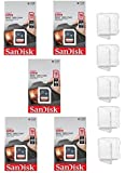 5 Pack - SanDisk Ultra 16GB SD SDHC Memory Flash Card UHS-I Class 10 Read Speed up to 48MB/s 320X SDSDUNB-016G-GN3IN Wholesale Lot + (5 Cases)